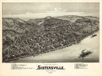 Sistersville 1896 Bird's Eye View 24x32, Sistersville 1896 Bird's Eye View